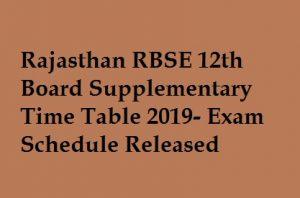 Rajasthan 12th Supplementary Time Table 2019