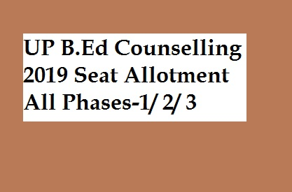 UP BED Counselling 2019- MJPRU JEE BED Seat Allotment (1st, 2nd, 3rd