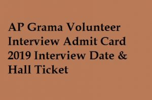 AP Grama Volunteer Interview Admit Card 2019