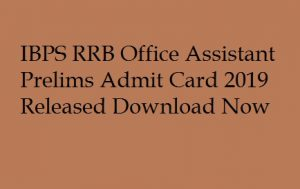 IBPS RRB Office Assistant Prelims Admit Card 2019