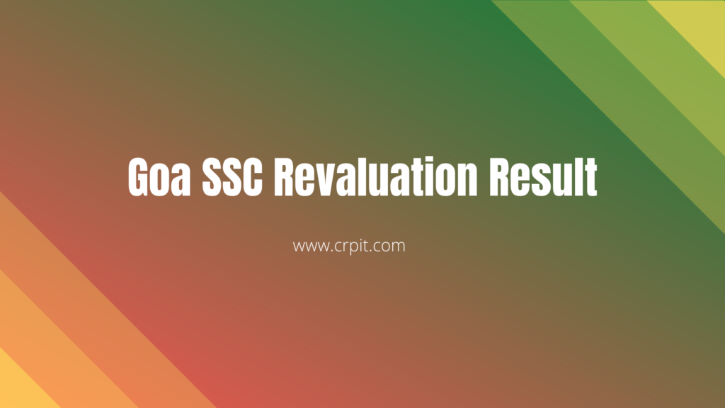 Goa SSC Revaluation Result